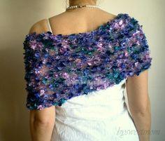 Knit Silky Ribbon Feathered Wedding Poncho Bridal by bysweetmom, $80.00