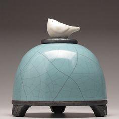 Ceramic  Bird Jar,  turquoise green,Art pottery,raku jar, Small Pet urn, handmade,home decor