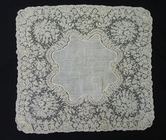 LACE FABULOUS HANDMADE POINT DE GAZE WEDDING HANDKERCHIEF C1880