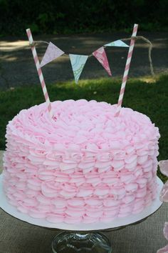 Create a fun, squiggly birthday cake for a little one's special day!   easy cake recipe   pink cake