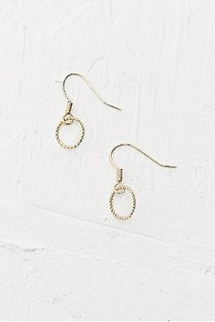Hanging Circle Earrings in Gold