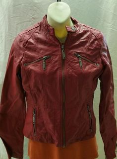 JOU JOU RED Women's Juniors Crop Motorcycle Jacket Size S in Clothing, Shoes & Accessories, Women's Clothing, Coats & Jackets   eBay