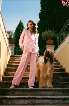 Finally! Casablanca's Charaf Tajer Tailors His Luxe Leisure Look for Women | Vogue Casablanca, Pink Suits Women, Jogging, Vogue Home, Streetwear, Daily Street Looks, Slim Aarons, Corporate Wear, Le Polo