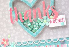 Mint hearts and diamonds fill this shaker heart on this fun handmade Thank You card.