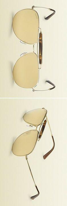 Gucci Gold Aviator Sunglasses LBV ♥✤ | KeepSmiling | BeStayClassy