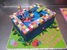 Swimming Pool shaped Wicked Chocolate cake decorated with swimming figurines Pool Birthday Cakes, Pool Party Cakes, Pool Cake, Swimming Cake, Swimming Pools, Cake Decorating Courses, Decorating Ideas, Pool Shapes, Cakes For Boys