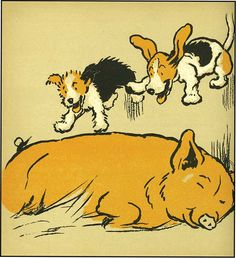 A Cecil Aldin illustration from his The Merry Puppy Book.