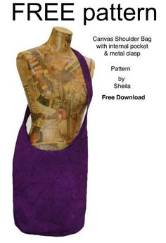 Download the FREE pattern and make this canvas shoulder bag, with internal pocket and metal clasp.