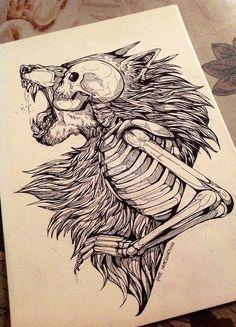 Skeleton Warewolf tattoo sketch
