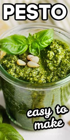 This Pesto recipe takes less than 10 minutes to make and is full of fresh ingredients. Basil, parmesan cheese, garlic & pine nuts blend together to create this creamy sauce! Sauce Recipes, Cooking Recipes, Jar Recipes, Yummy Recipes, Free Recipes, Basil Pesto Recipes, Homemade Pesto Recipes, Garlic Recipes, Caprese Salat
