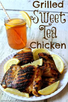 Grilled Sweet Tea Chicken Marinate your chicken in that summer time classic, sweet tea, it is amazing and a great new way to season grilled chicken!  #chicken #dinner #sweettea #teachicken #grilled #grilledchicken #grilling #dinner