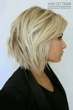 Short choppy stacked blonde bob with lowlights and texture