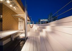 staggered rooftop lounge by CASE-REAL in fukuoka, japan
