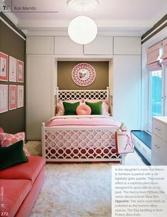 Pink and green girl's bedroom via Trad Home