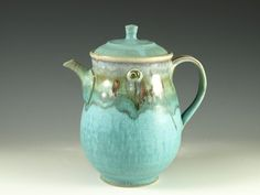 Pottery teapot in turquoise glaze 5 cups loose by Hodakapottery, $84.00
