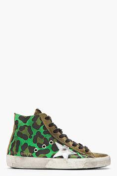 Golden Goose Green Leopard Print Francy Sneakers for women | SSENSE