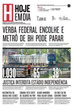 Capa do dia 07/06/2016 #HojeEmDia #Jornal #Notícias #News #Newspaper