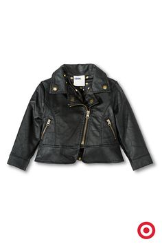 It's ultra cool and so on-trend: this sassy Genuine Kids from Oshkosh Black Moto Jacket for infant and toddler girls. It features an asymmetrical zip front, zip pockets, snap collar and topstitching.