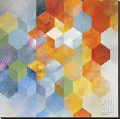 Brightly colored hexagonal cubes add contemporary appeal to the Amanti Art Framed Print - Cubitz I by Noah . This vibrant art print includes stylish. Framed Wall Art, Framed Art Prints, Painting Prints, Wood Paintings, Noah, Illustrations, Stretched Canvas Prints, Decoration, 5 D