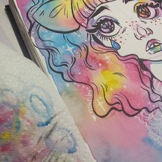 I didn't realize until looking at it today just how strong the Lisa Frank is with this one. coming soon to nikinapalm on youtube! #art #illustration #artistsonyoutube #artistsoninstagram #crybaby #sketchbook #watercolor #ink