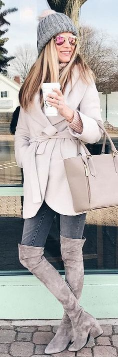 #winter #fashion / Grey Beanie / Cream Coat / Dark Skinny Jeans / Grey Velvet OTK Boots