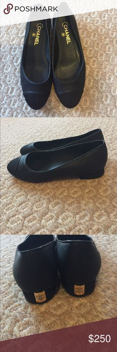 Chanel ballerina flats 39.5 like new Unique pair of Chanel flats. Oh so gorgeous!!!! Barely worn! Like new. Look at pictures. Amazing so beautiful. CHANEL Shoes Flats & Loafers