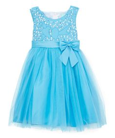 Turquoise Sequin Bow A-Line Dress - Toddler & Girls