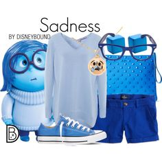 Sadness by leslieakay on Polyvore featuring 360 Sweater, American Eagle Outfitters, Converse, KDIA, Filip Vanas, Disney, disney, disneybound and disneycharacter