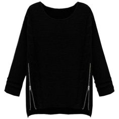Long Sleeve Loose Knitted Zipper Crew Neck Hedging Sweater ($12) ❤ liked on Polyvore featuring tops, sweaters, collared sweater, black sweater, crewneck sweater, print sweater and loose sweater
