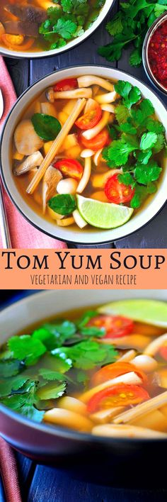 This vegetarian tom yum soup recipe is light, flavourful, spicy and hearty all at the same time. A mix of meaty Asian mushrooms are poached in a fragrant broth of lemongrass and lime leaves and soured with lime juice. A spoonful of chili paste is stirred in at the end for a bit of heat to warm you up and you've got a nourishing, steaming bowl of soup that's great for chilly weather.