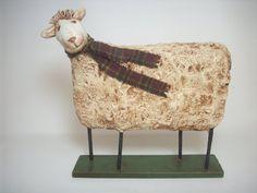 Primitive Paper Mache Folk Art Sheep by papiermoonprimitives
