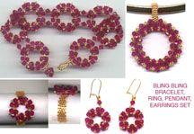 BLING BLING CIRCLE NECKLACE PENDANT, BRACELET, EARRINGS & RING SET