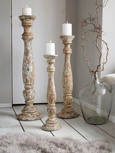 Distressed Wooden Candle Holders - Natural