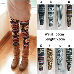 cheap and cute tights Warm Leggings, Winter Leggings, Tight Leggings, Holiday Leggings, Cheap Leggings, Snowflake Leggings, Fashion Outfits, Womens Fashion, Fashion Ideas