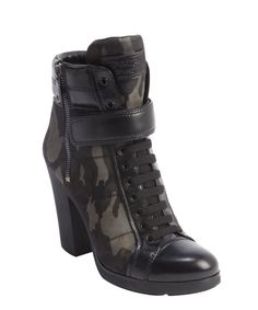 Prada black and camo leather and nylon heeled combat boots-love these boots!