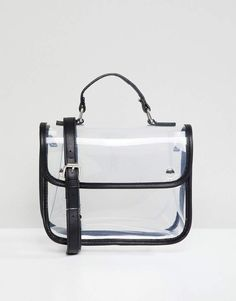 Bershka clear cross body bag with black trim Day Bag 7b4b20bcd39ff