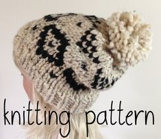 e64736c8e3f Knit Slouchy Beanie PATTERN Knitted Hat with Aztec style pattern - Pom Pom Hat  Slouchy Beanie