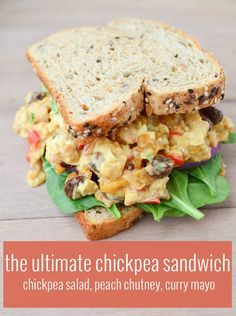 The Ultimate Chickpea Salad Deli Sandwich! Chickpea salad, homemade peach chutney, curry mayo. Vegan and easily gluten-free   www.delishknowledge.com