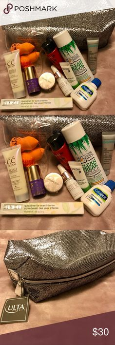 Travel Beauty Product Bundle with Makeup Bag All brand new travel size beauty products (Clinique eyeliner is full size!) includes hair products, skincare, makeup, and beauty sponges. These are all Ulta and Sephora brands. Bag is from Ulta Beauty. Inside bag is also extra packet samples for free. There's Josie Marian, Clinique, Tarte, Alterna, and more!!! Sephora Makeup