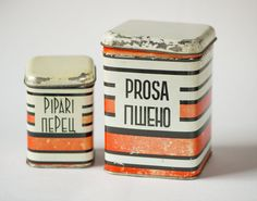 Red white tin canisters shabby tin boxes kitchen by SovietEra