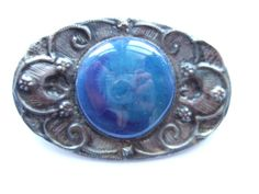 Jewelry & Watches Periods & Styles Useful Vintage Antique Arts & Crafts Celtic Pewter Brooch Blue Green Ruskin Cabochon High Quality Materials