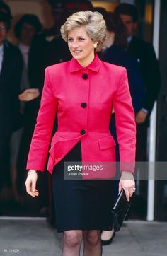 WELLS, ENGLAND - FEBRUARY 28 Diana, Princess of Wales on a visit to Tunbridge Wells, on February 28, 1990 in London, United Kingdom.