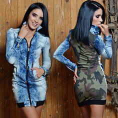 FOGGI Damenkleid Jeanskleid Minikleid Jeans Sommerkleid Strandkleid 34 - 38 #F52