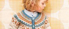 Pehmeät murretut sävyt sointuvat kauniisti yhteen lapsen jakussa. Kirjoneuletta tehdään kaarrokkeeseen ja muutama raita myös helmaan ja hihansuihin. Crochet Necklace, Knitting, Blouse, Tops, Women, Fashion, Moda, Crochet Collar, Tricot