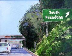 Entering South Pasadena, highway sign landscape -- Leslie Saeta