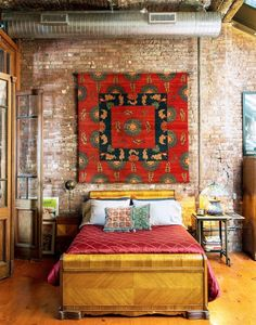Check Out Eclectic Bedroom Designs That Will Give You Creative Ideas. The eclectic bedroom interior design, just as any other eclectic interior design is a very personal space. Bedroom Loft, Home Bedroom, Bedroom Decor, Bedroom Ideas, Bedroom Designs, Wall Decor, 1930s Bedroom, Warm Bedroom, Bedroom Rugs