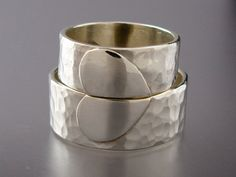 Extra Wide Heart Wedding Band Set  We Hold One by LichenAndLychee, $214.00