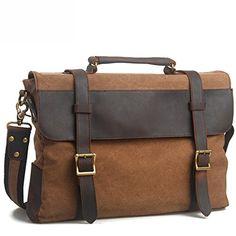 04c3074ec EcoCity Cotton Canvas Genuine Leather Cross Body Laptop Messenger Business  Shoulder Handbag Briefcase (Brown)