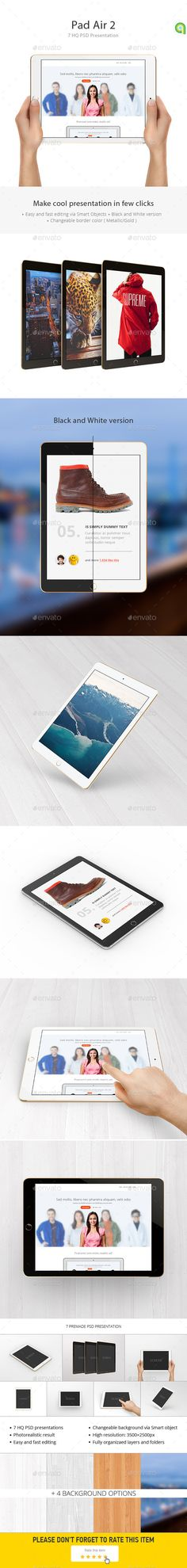 This photorealistic iPad Air 2 Tablet Mockup is great way to showcase your latest app design.
