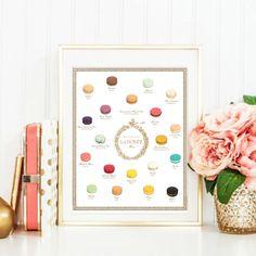 Macaron Laduree Flavors Menu Painted art. by CouturePrintery